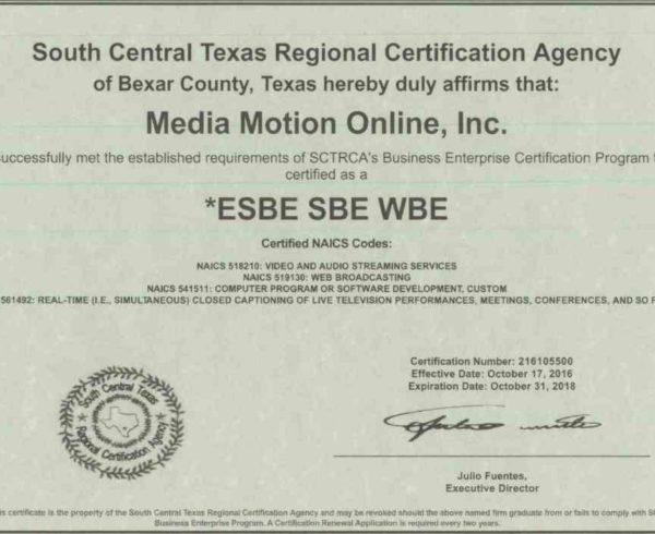 SCTRCA Certificate
